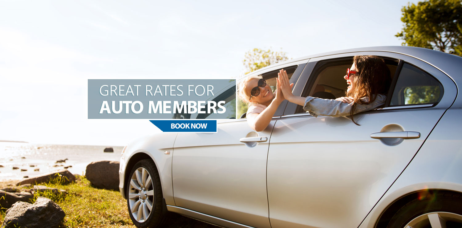 Great Rates For Auto Members - Book Now